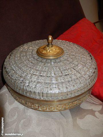 Plafonnier cristal 2 Lampes et bronze Lucien Gau 110 Paris 12 (75)