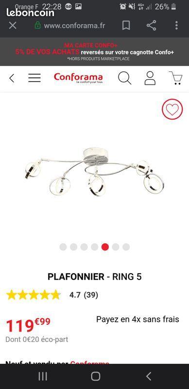 Plafonnier ring 5 conforama 80 Dugny (93)
