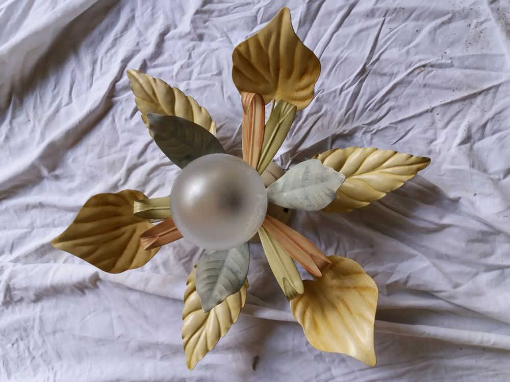 PLAFONNIER TOLE PEINTE UNE LAMPE 10 Leers (59)