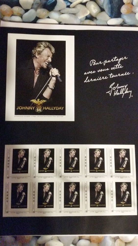 PLANCHE DE TIMBRES JOHNNY HALLYDAY 20 Waziers (59)