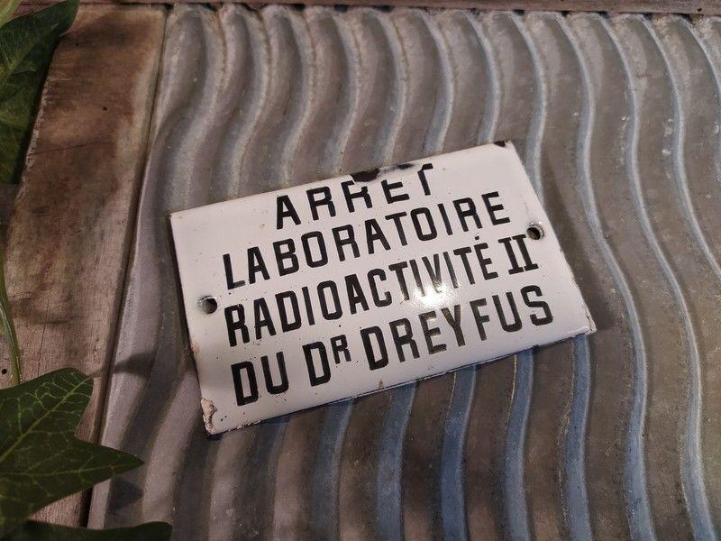 Plaque Émaillée Laboratoire Radioactivité II Dr Dreyfus 120 Loches (37)