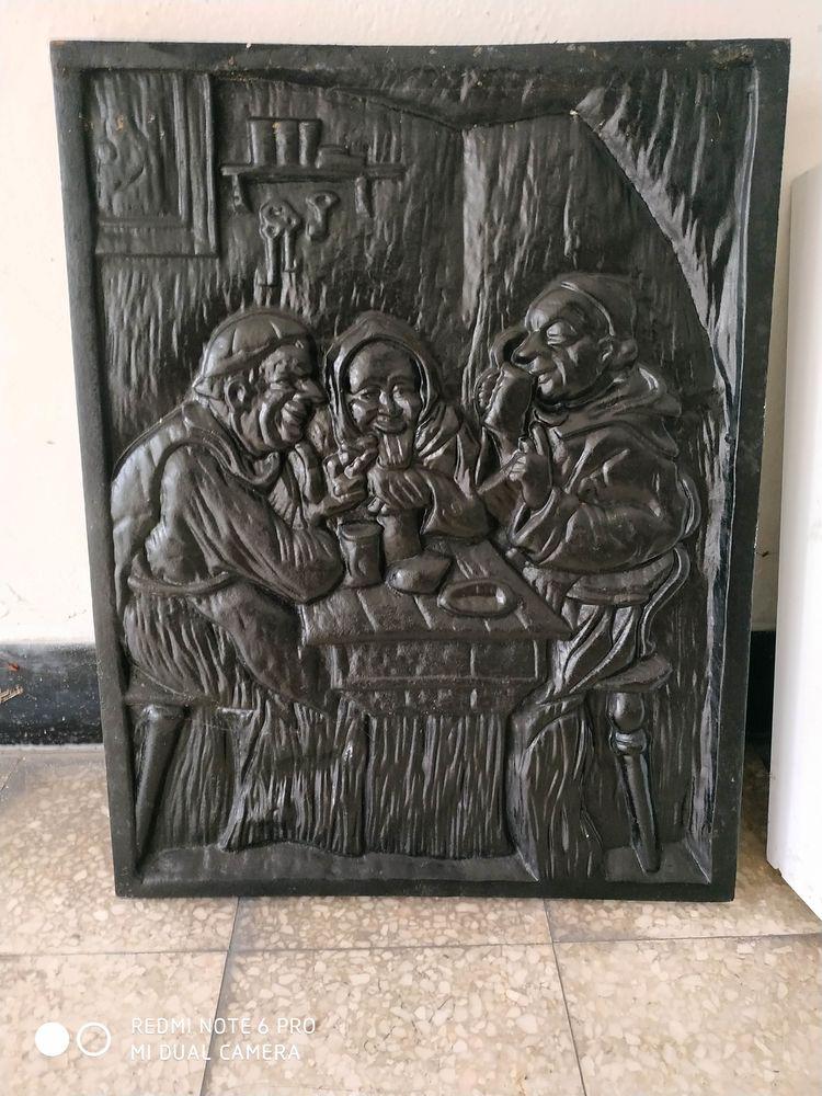 Plaque de fonte décoration cheminée 80 Seclin (59)