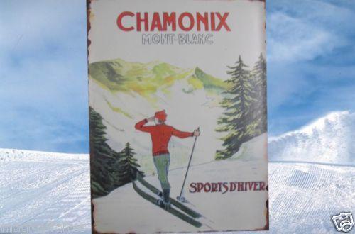 Plaque Métal 35x26,5 Chamonix mont blanc sports d'hiver NEUF Décoration