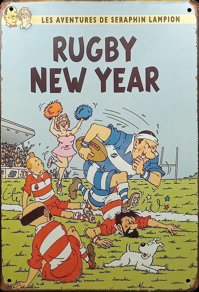 Plaque en métal vieilli Tintin - Lampion rugbyman  15 Samoreau (77)