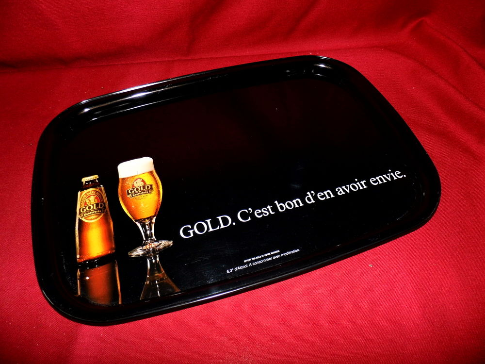Plateau publicitaire biere GOLD brasserie bistrot vintage 15 Dunkerque (59)