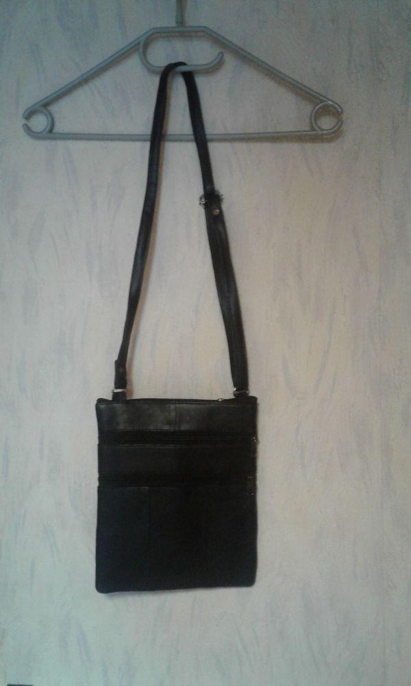 Pochette bandoulière de cou, Roamlite, cuir noir et textile 5 Lens (62)