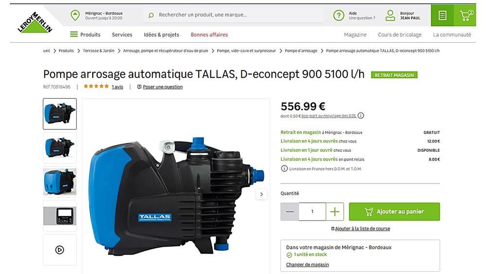 Pompe d'arrosage automatique TALLAS D-econcept.  400 Mérignac (33)