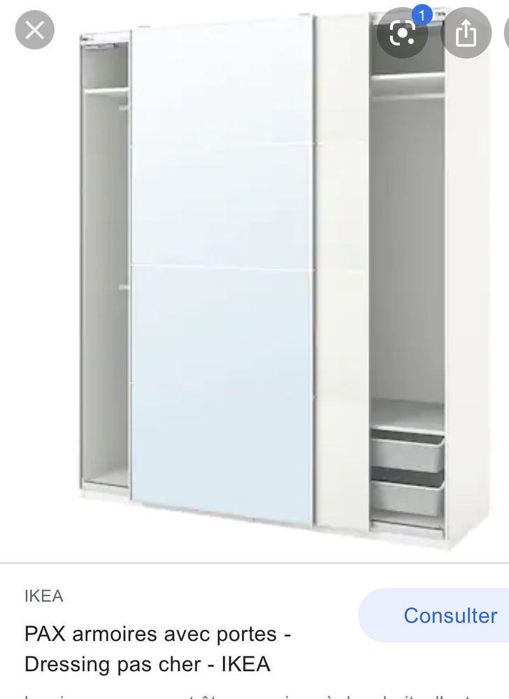 Porte armoire miroir coulissant  100 Ambilly (74)
