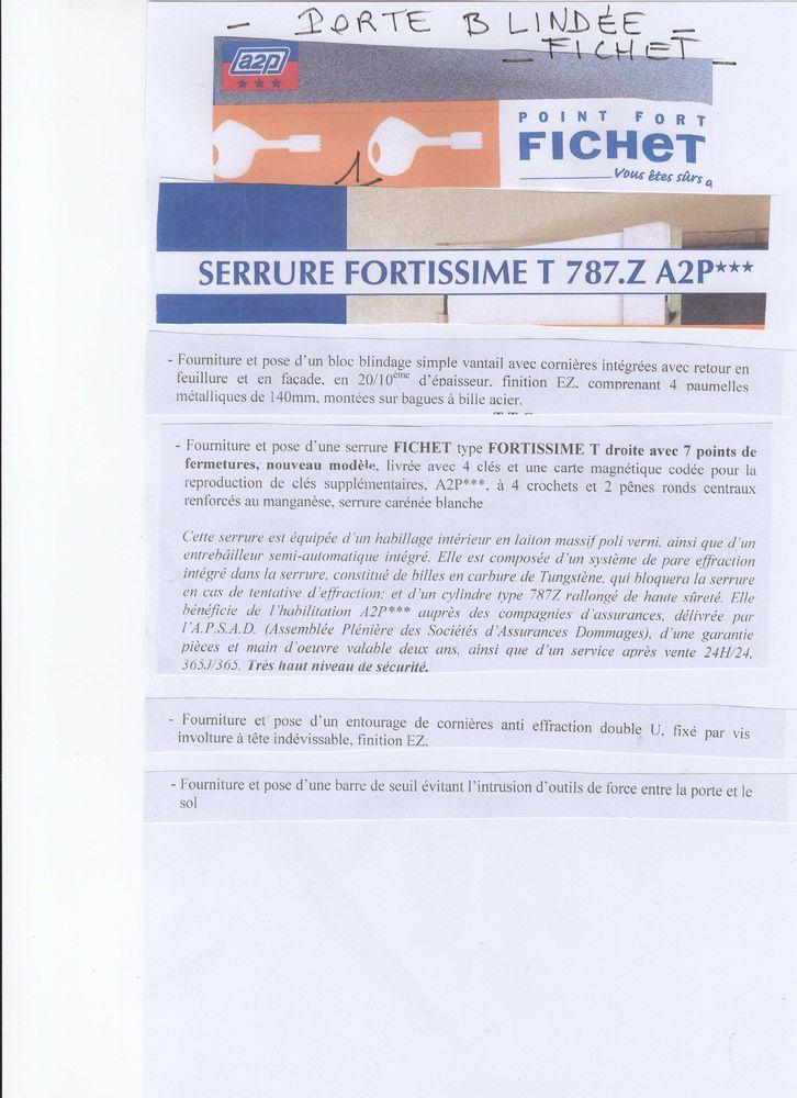 Porte Blindée Fichet avec Serrure Fortissime 700 Paris 16 (75)