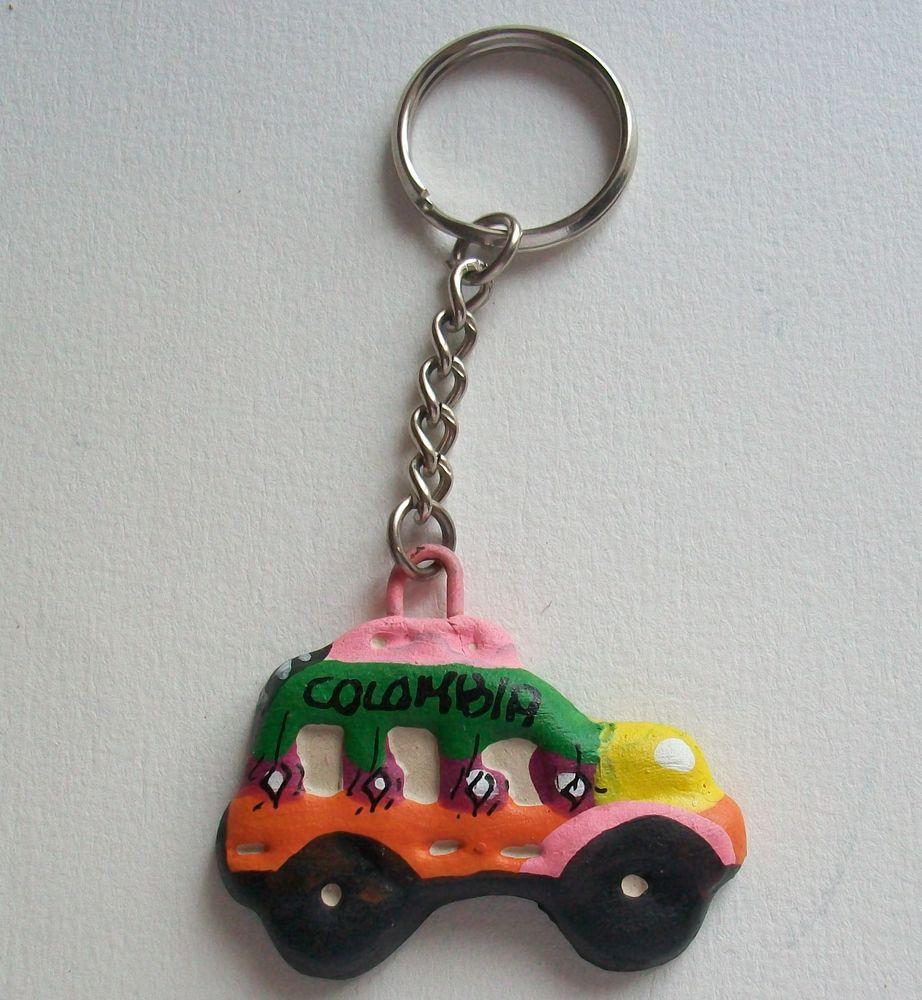 Porte clés bus artisanal céramique vert orange 7 Thizy (69)