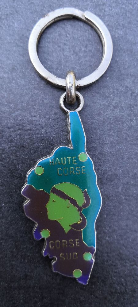 Porte-clé Corse inox et émaillé bleu et vert fluo 15 La Seyne-sur-Mer (83)