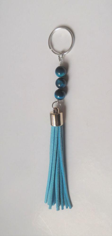 Porte clé Grand pompon cuir bleu et perles oeil de Faucon 6 La Seyne-sur-Mer (83)