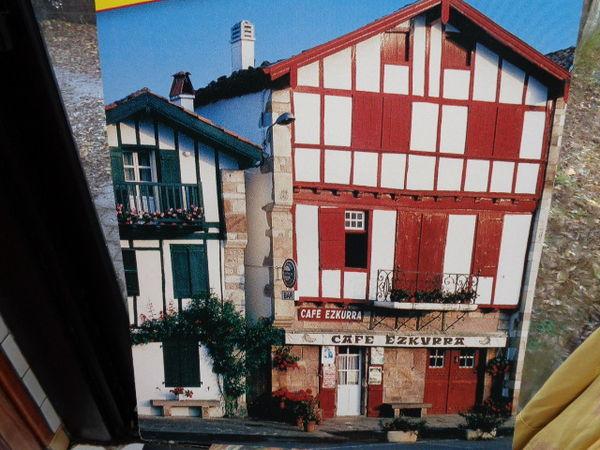 poster cartonné, maison basque,café,(50x56cm) 2 Ondres (40)