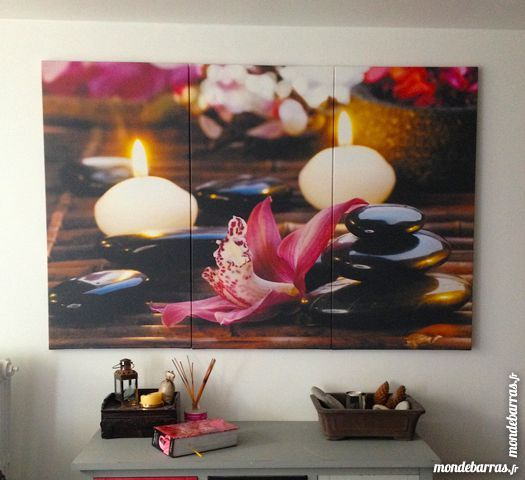 Poster mural triptique, style spa, bougies 69 Orgeval (78)
