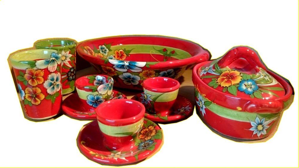 Poterie rouge thèmes fleurs , saladier , tasses , coquetier Décoration