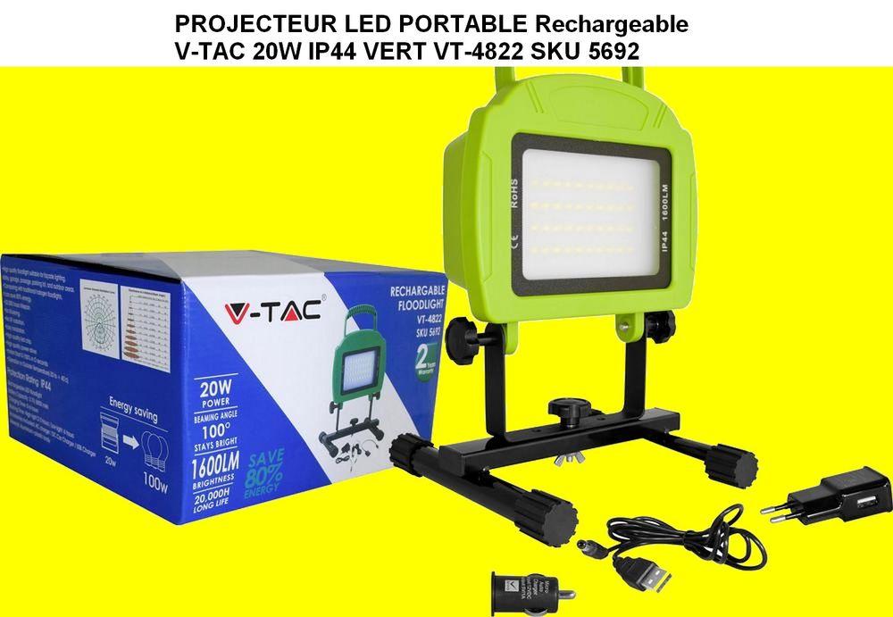 PROJECTEUR LED PORTABLE Rechargeable V-TAC 20W IP44 VERT VT- 40 Saint-Pôtan (22)