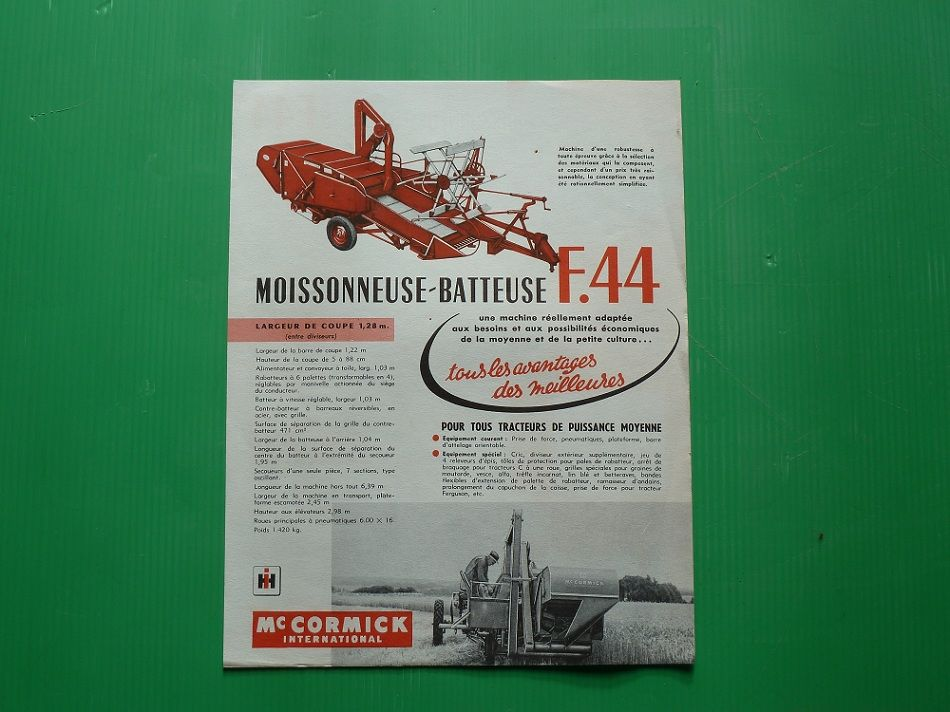 Prospectus Mac CORMICK  Moissonneuse F-44 1955 0 Marcilly-le-Hayer (10)