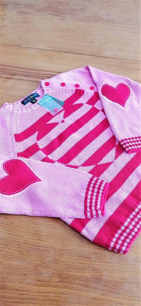 Pull Maille Coton Col Rond Rose avec Coeur - Neuf Vêtements enfants