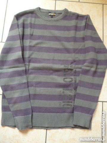 Pull rayé Violet /Gris garçon    Taille 14/16 ans  5 Argenton-sur-Creuse (36)
