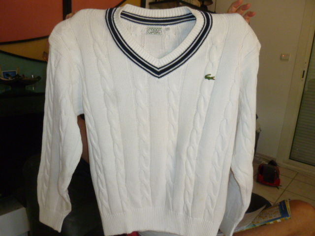 Pull tennis Lacoste blanc L (made in France) 30 Le Cannet (06)
