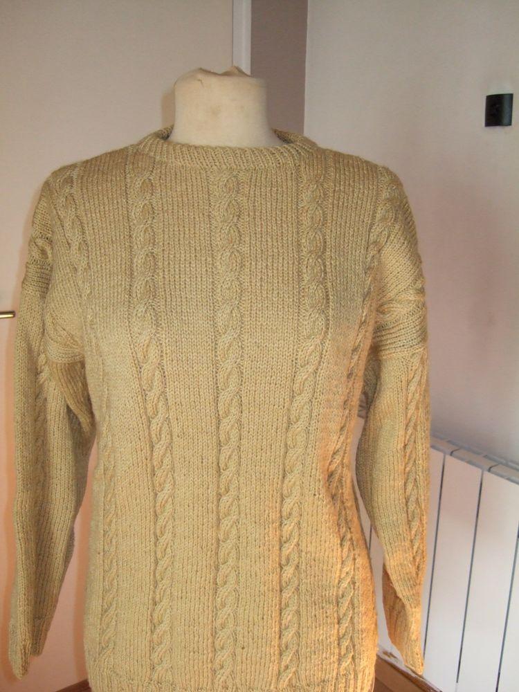 Pull torsades tricoté main laine et acrylique taille 42/44 19 Triel-sur-Seine (78)