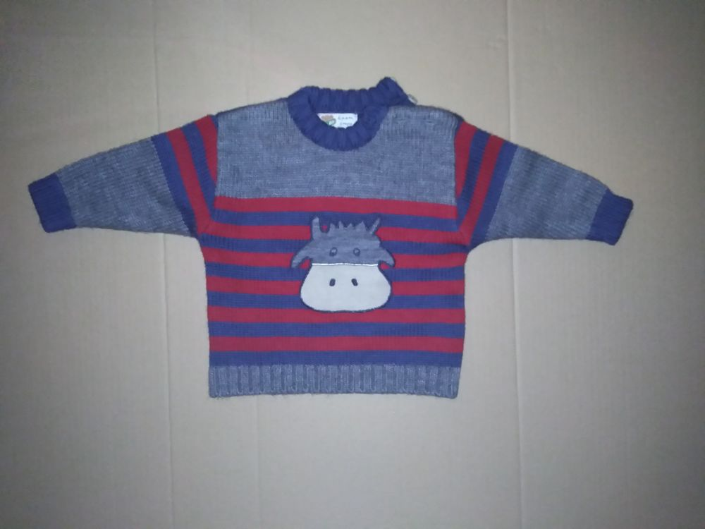 Pull vache rayé gris/ bleu/rouge DPAM 6 mois 5 Semoy (45)