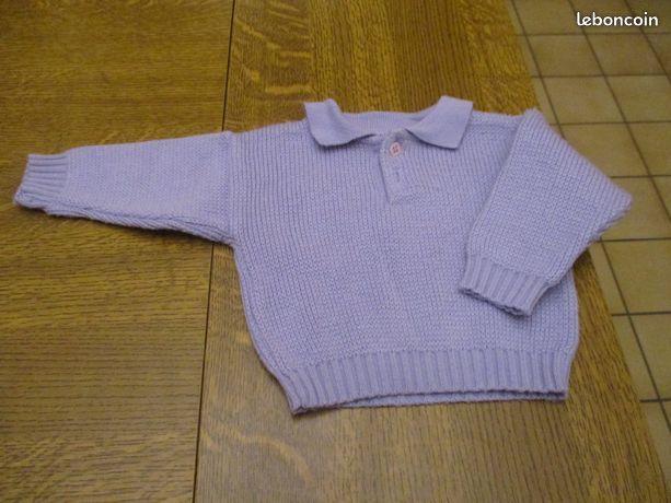 Pull violet a bouton sur le devant 3 mois 0 Mérignies (59)