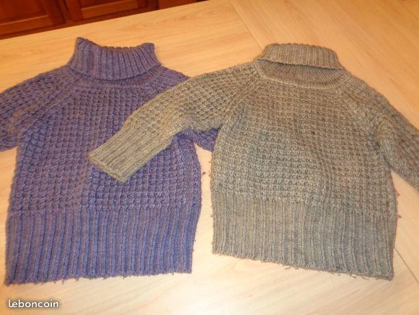 715787af08719 2 pulls fille col roulé laine taille 7 ans en tbe à 15 euros