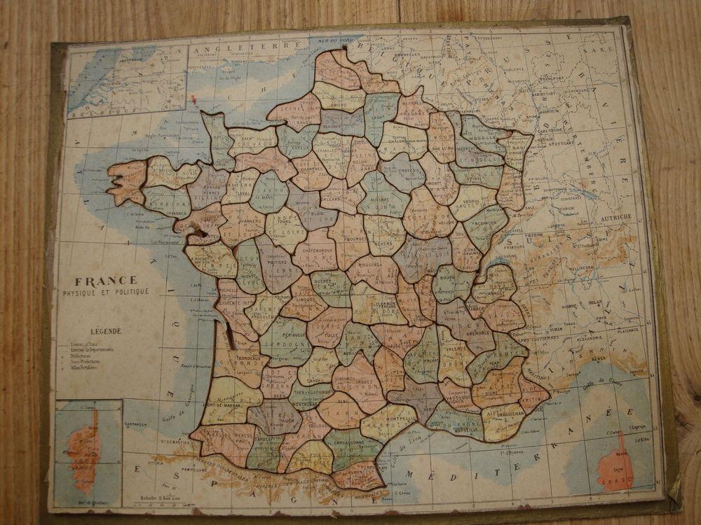 PUZZLE EN BOIS  CARTE DE FRANCE 50 Villeneuve-sur-Bellot (77)