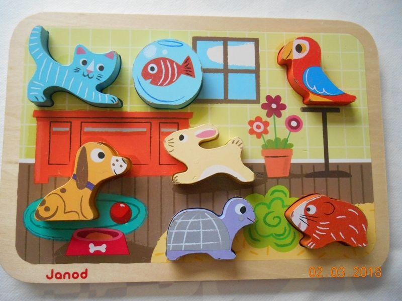 Puzzle encastrement bois 7 animaux JANOD 13 Mâcon (71)