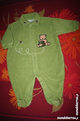 Pyjama/Babygros éponge olive 6 mois Garçon MIROTON 1 Tournefeuille (31)