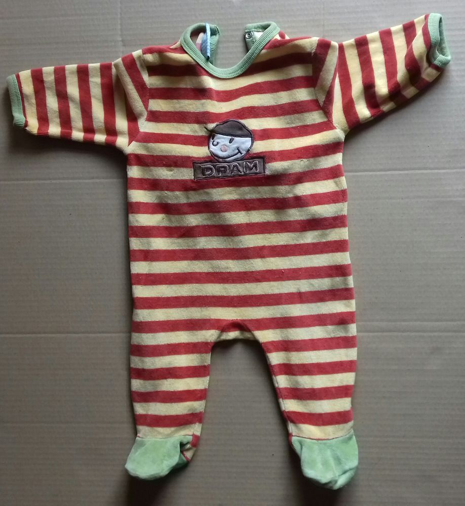 Pyjama DPAM rayé jaune/brique 3 mois 3 Semoy (45)