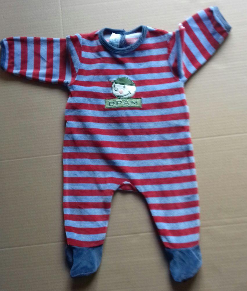 Pyjama DPAM rayé bleu/rouge - 3 mois 3 Semoy (45)