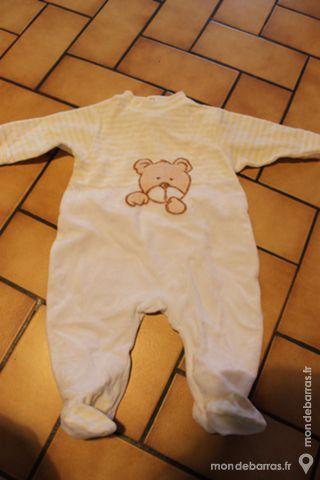 Pyjama velours jaune rayé 3 mois 4 Wervicq-Sud (59)