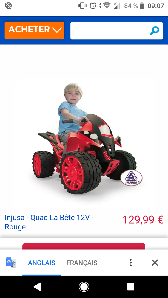 Quad rouge enfant 12v injusta  100 Calais (62)