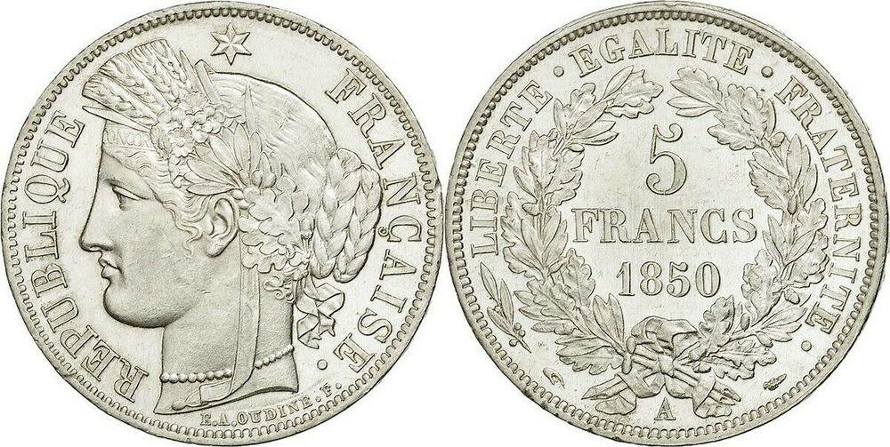 RARE MONNAIE 5 F CERES 1850 A    SPL  165 Raismes (59)