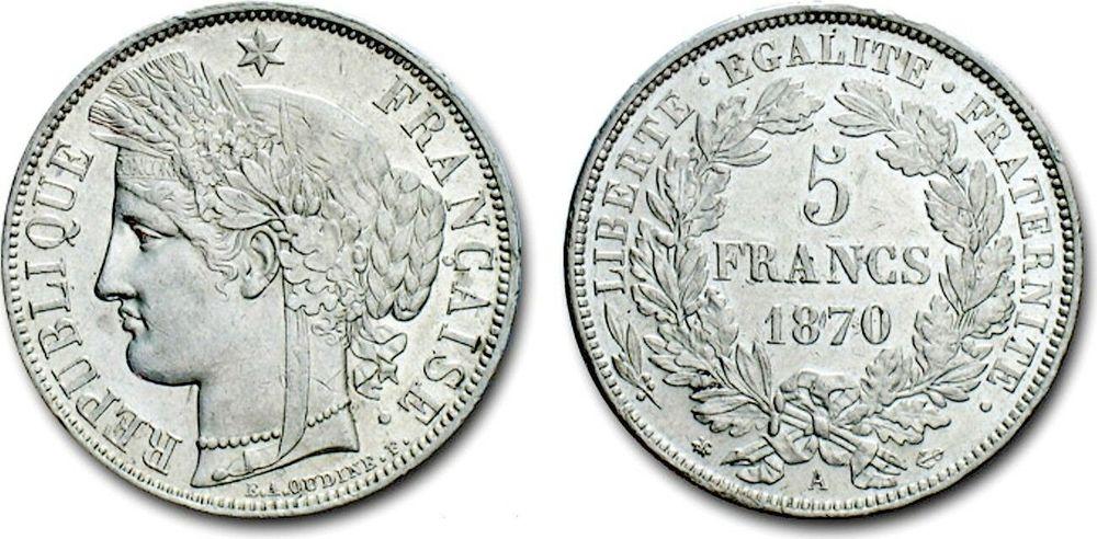 RARE MONNAIE F 333/1 5 F CERES 1870 A SPL C 750€