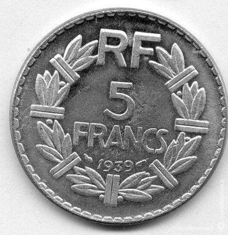 RARE pièce de 5 francs nickel 1939 25 Artagnan (65)