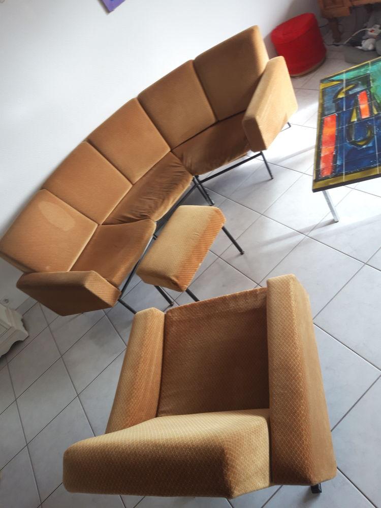 Rare salon canapé + fauteuil cordonné Pierre GUARICHE G10 2800 Vannes (56)