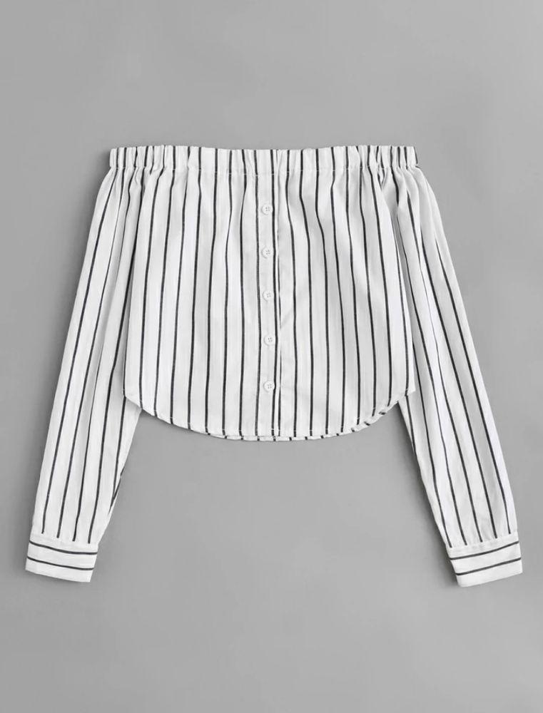 Top à rayure avec boutons et épaules dénudées  7 Le Moule (97)