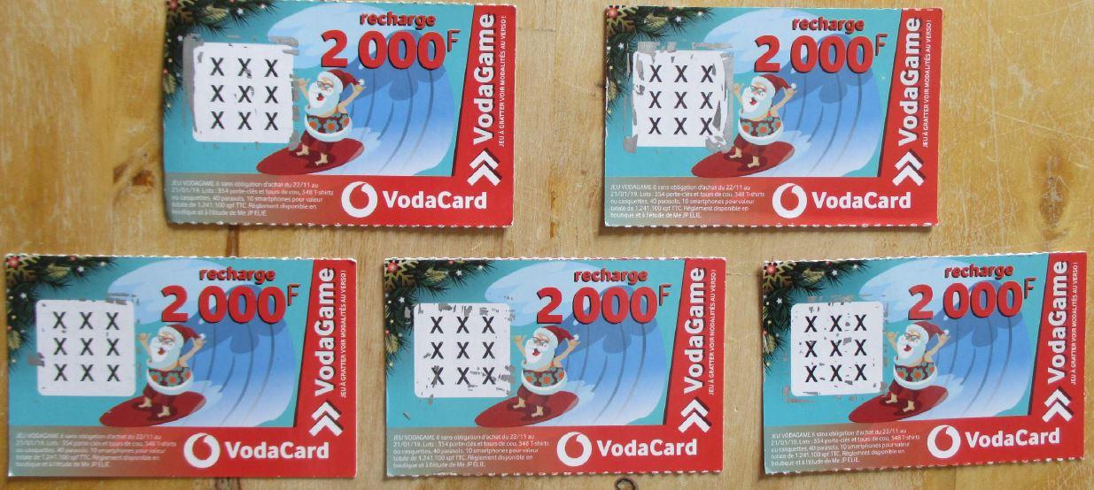5 recharges NEUVES 2000F Vodacard * Vodafone PF Tahiti 50 Polynésie française (98)