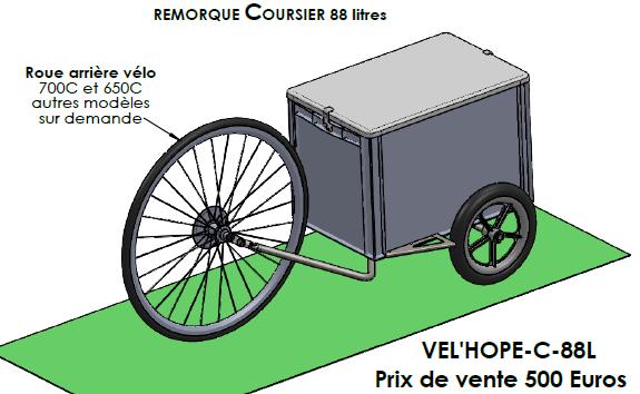 Remorque coursier pour vélo. 396 Livron-sur-Drôme (26)