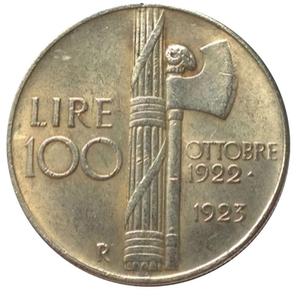 RÉPLIQUE PLAQUÉ ARGENT - 100 LIRES MUSSOLINI 1923  0 Hautmont (59)