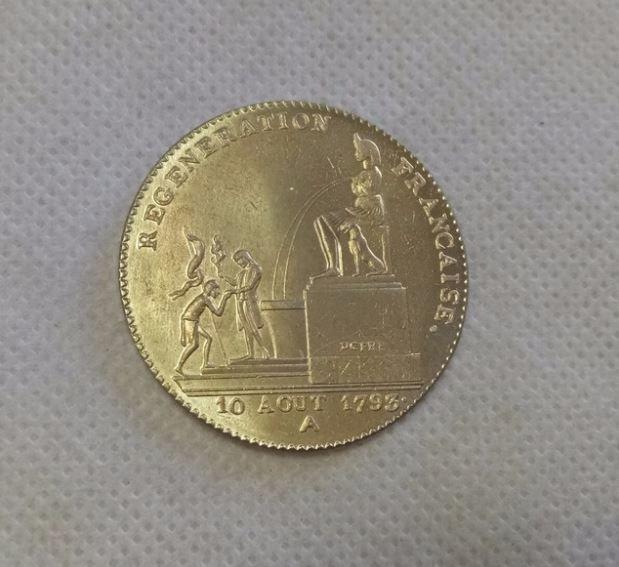 RÉPLIQUE PLAQUÉ OR - 5 Décimes 1793 FONTAINE D'ISIS