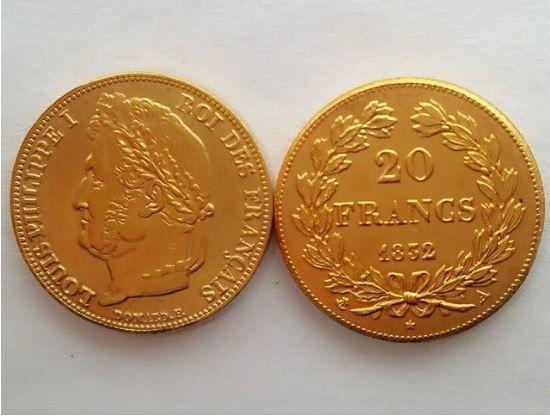 RÉPLIQUE PLAQUÉ OR - 20 Francs Louis-Philippe 0 Hautmont (59)