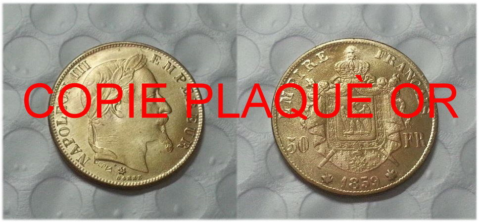 RÉPLIQUE PLAQUÉ OR 50 FRANCS 1859 NAPOLÉON III EMPEREUR  0 Hautmont (59)
