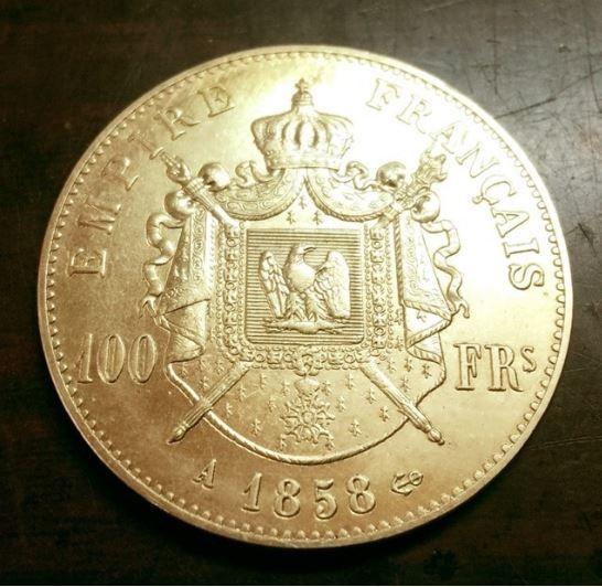 RÉPLIQUE PLQUE' OR - 100 FRANCS  NAPOLÉON III 1858  0 Hautmont (59)