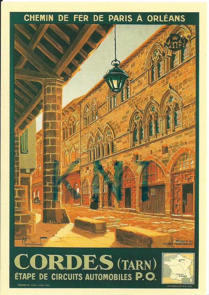 C P M reproduction d'affiche chemin de fer Paris à orléans  5 Tours (37)