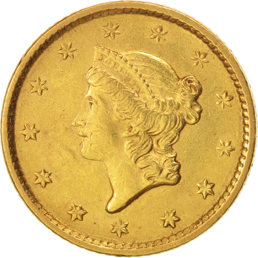 REPRODUCTION DOLLAR PLAQUÈ  OR   INDIAN HEAD  1852   0 Hautmont (59)