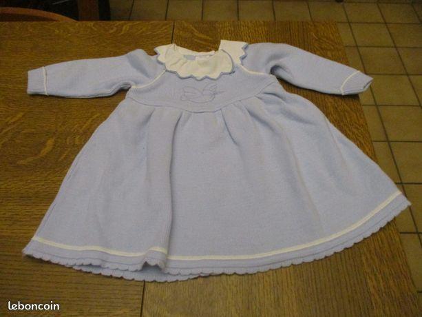 Robe bleu ciel avec petit oiseau et col blanc 6 mois 0 Mérignies (59)